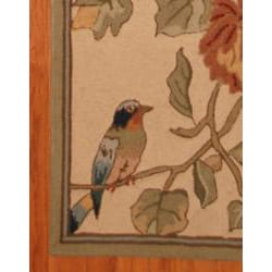 Asian Hand-tufted Beige/ Green Floral Bird Wool Rug (2'8 x 10')
