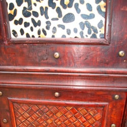Phat Tommy Decorative 4-panel Wood 'Leopard Pattern' Room Divider Screen