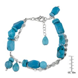 Silvermoon Sterling Silver Turquoise Chain Bracelet
