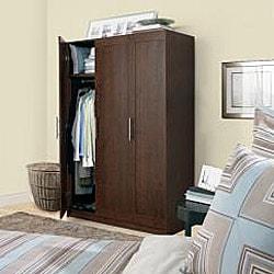 akadaHOME Walnut 72-inch Wardrobe Cabinet