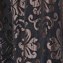Black/ Bronze Patterned Faux Silk Jacquard 108-inch Curtain Panel