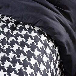 White/ Black Houndstooth 3-Piece King-size Comforter Set