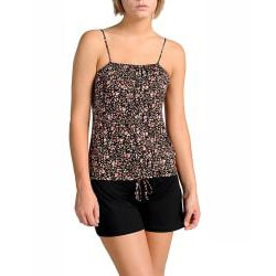 Stanzino Women's Black Floral Sleeveless Romper