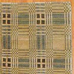 Tibetan Hand-knotted Beige/ Green Wool Rug (6' x 8'9)