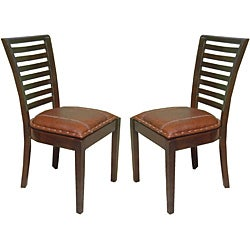 Aledo High-back Mahogany Leather Chairs (Set of 2)