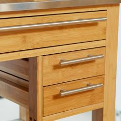 Wooden Kitchen Island with Stainless Steel Top