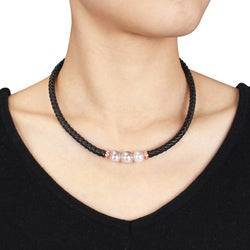 Goldtone Pink Freshwater Pearl Leather Necklace (9-10 mm)