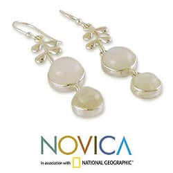 Sterling Silver 'Sweet Sugar Cakes' Moonstone Dangle Earrings (India)