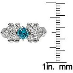 14k White Gold 1 1/4ct TDW Blue and White Diamond Ring (SI2)