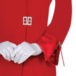 Divine Apparel Women's Missy Satin Trimmed Asymmetrical Collar Skirt Suit
