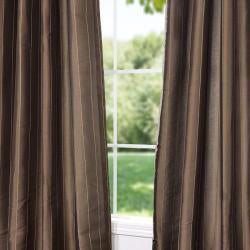 Exclusive Fabrics Striped Sable Brown Faux Silk 95-inch Curtain Panel