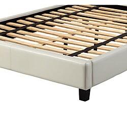 Sarajevo White Vinyl Full Platform Bed