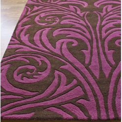 nuLOOM Handmade Damask New Zealand Wool Rug (5' x 8')
