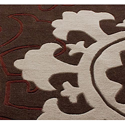 nuLOOM Handmade Pino Suzani Brown Rug (7'6 x 9'6)