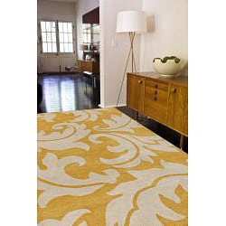 Hand-tufted Yellow Wool Rug (5' x 8')
