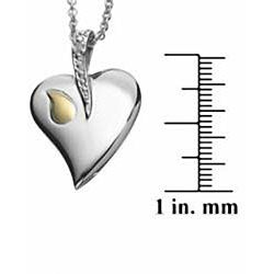 Sterling Silver Diamond Accent Engraved Heart Initial Necklace
