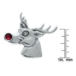 Silvermoon Sterling Silver Reindeer Red Crystal Brooch Pin