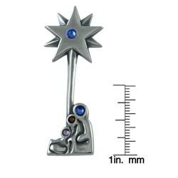 Silvermoon Sterling Silver Nativity Star Crystal Brooch Pin
