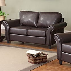 Petrie Dark Brown Faux Leather 3-piece Rolled Arm Living Room Set