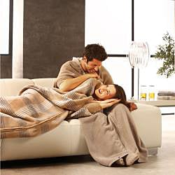 Bocasa Caramel Woven Wearable Zip-up Cuddle Wrap Blanket