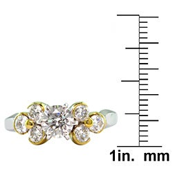 18k White Gold 1 1/2ct TDW Certified Clarity-Enhanced Round Diamond Engagement Ring (H-I,SI1)