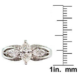 14k White Gold 1 7/8ct TDW Certified Clarity-Enhanced Diamond Engagement Ring (I-J,VS2 )