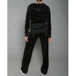 LIFO Women's Plus Size Black Velour Jacket and Pants Set