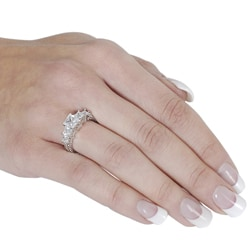 Silvertone Princess-cut Cubic Zirconia Ring