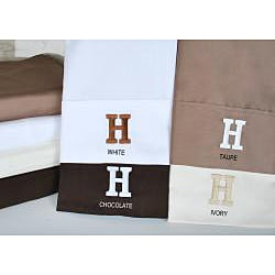 Egyptian Cotton 300 Thread Count Solid Block 'H' Monogram Sheet Set
