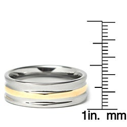 Men's Tungsten Carbide Gold-plated Triple Ridged Band (8 mm)