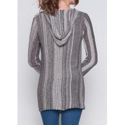 Elan Women's Cotton Striped Sweater Hoodie