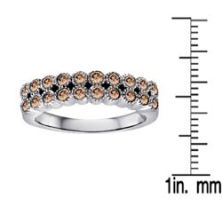 Sterling Silver 1/2ct TDW Champagne Diamond Double Row Ring