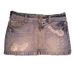 Au Jus Jeans Distressed Medium-blue Denim Mini Skirt with White Lace