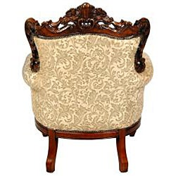 Mahogony Golden Ivy Queen Victoria Wing Chair (China)