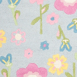 Handmade Spring Flowers Light Blue N. Z. Wool Rug (3' x 5')