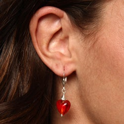 Charming Life Sterling Silver Red Glass and Crystal Earrings