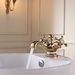 Kraus White Round Ceramic Sink and Apollo Basin Faucet Gold