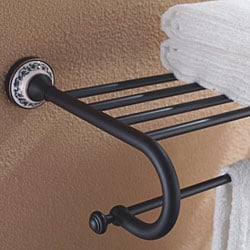 Kraus Apollo Bathroom Accessories - Bath Towel Rack with Towel Bar Oil Rubbed Bronze