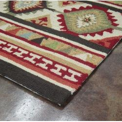 Hand-hooked Rancho Spice/ Multi Rug (3'6 x 5'6)