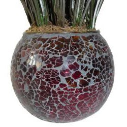 Laura Ashley Grass in Red and Brown Mosaic Container (Set of 2)