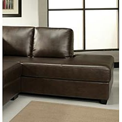 Abbyson Living Pearce Dark Brown Bonded Leather Sectional Sofa