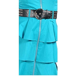 Stanzino Women's Size S Turquoise Belted Exposed Zipper Ruffled Dress
