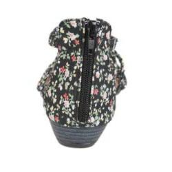 Refresh by Beston Women's 'Tokyo-02' Black Floral Braided Sandals