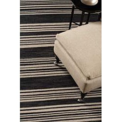 Flat Weave Black/ Grey Wool Rug (10' x 14')