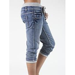 MDZ Women's Junior 'Lenny' Knit-Waistband Denim Capris
