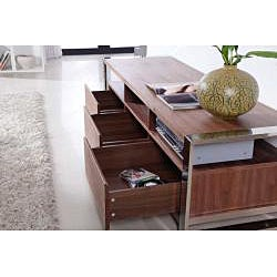 Adrianna Light Walnut/ Stainless Steel Modern TV Stand