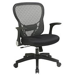 Black Office Star Deluxe R2 SpaceGrid Back Chair with Lumbar Support