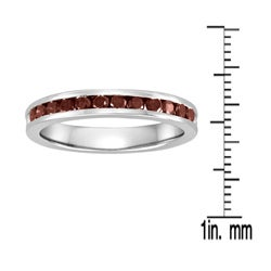 Sterling Silver 1/2ct TDW Red Diamond Anniversary Band