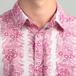 Vintage Red Men's Floral Woven Shirt