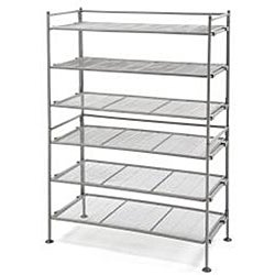 Seville Classics Light Gray Three-tier Iron Utility Shoe Rack